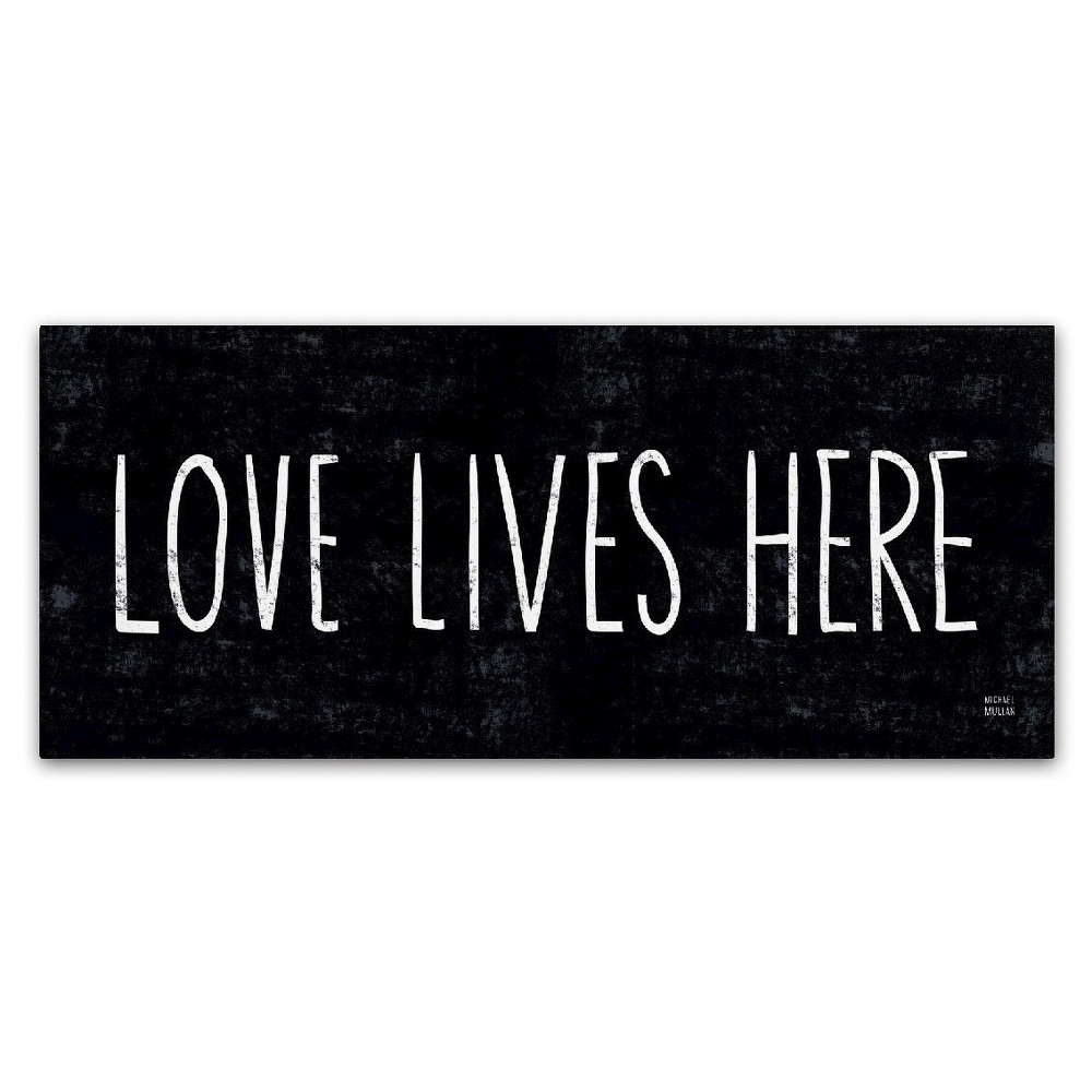 Love Lives Here' by Michael Mullan Ready to Hang Canvas Wall Art, Black