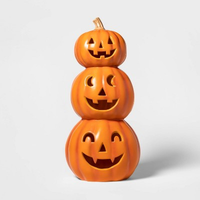 Lit Triple Pumpkin Decorative Halloween Prop Orange - Hyde & EEK! Boutique™