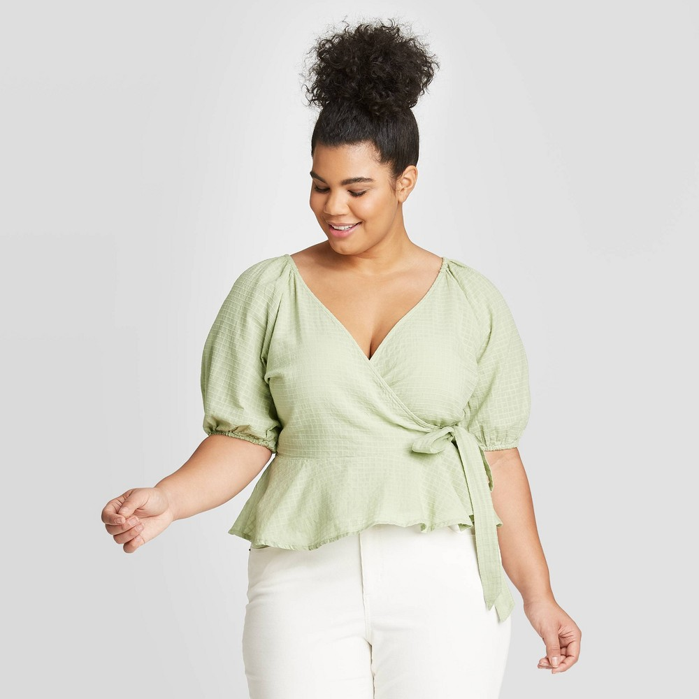 Image of Women's Plus Size Elbow Sleeve Wrap Top - Universal Thread Mint 2X, Women's, Size: 2XL, Green