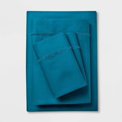 Cotton Percale Solid Fringe Sheet Set (Full)Teal - Opalhouse™