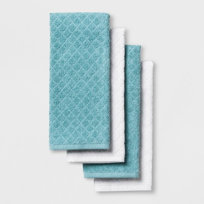 4pk Kitchen Towels White/Aqua - Made By Design™
