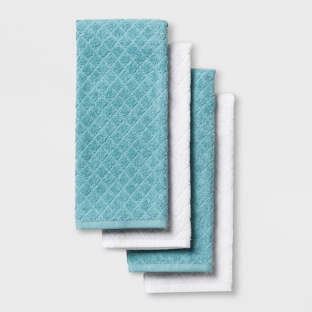 4pk Kitchen Towels White/Aqua (White/Blue) - Made By Design