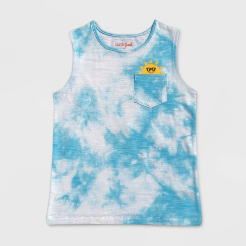Toddler Boys' Tie-Dye Sun Graphic Pocket Tank Top - Cat & Jack™ Blue - image 1 of 2