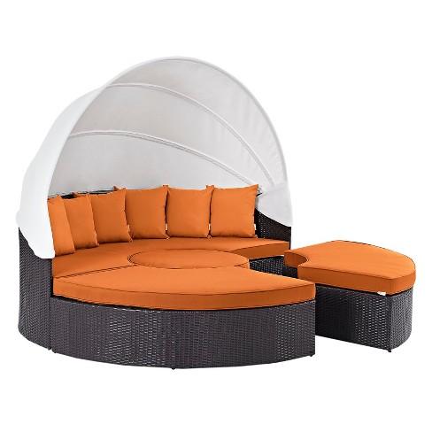 Convene Canopy Outdoor Patio Daybed in Espresso Orange - Modway