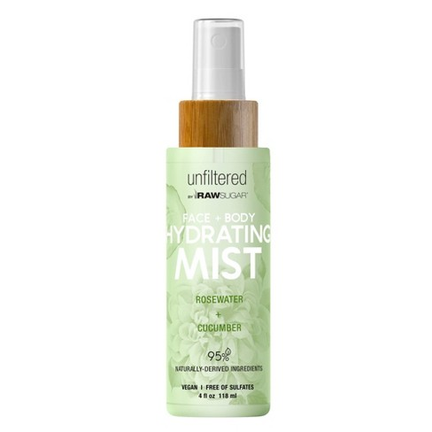 Unfiltered By Raw Sugar Rosewater and Cucumber Face and Body Hydrating Mist - 4 fl oz - image 1 of 3