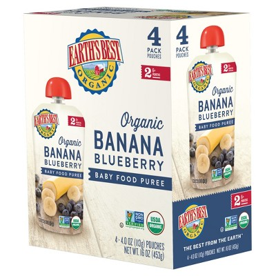 Earth's Best Organic Baby Food Pouch Banana Blueberry - 4oz (4ct)