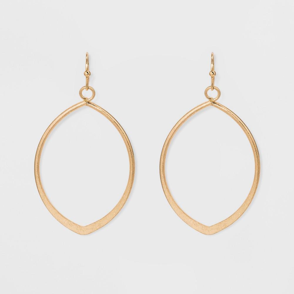 Metal Cut Out Teardrop Hoop Earrings gold
