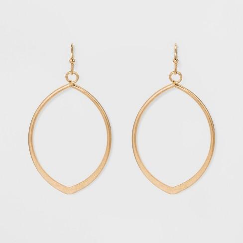 Metal Cut Out Teardrop Hoop Earrings - Universal Thread™ - image 1 of 2