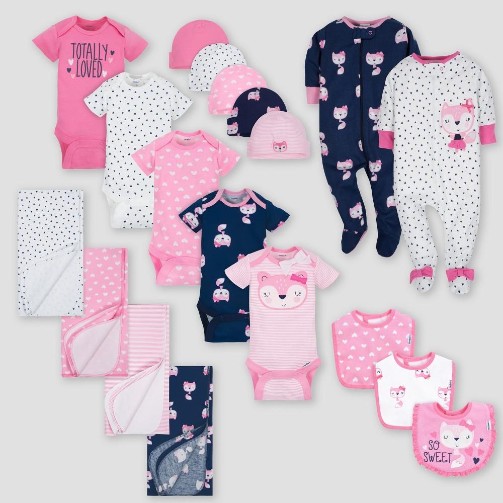Gerber Baby Girls' 19pc Fox Layette Gift Set - Pink 0-3M