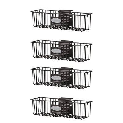 "Suncast Storage Trends 3"" x 12"" Mounted Metal Wire Shelf Basket, Black (4 Pack)"