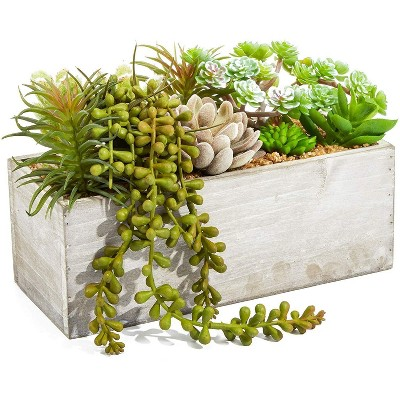 Juvale Artificial Mixed Succulent Fake Cactus Plants in Rectangular Wooden Planter Box 9 x 4 in.