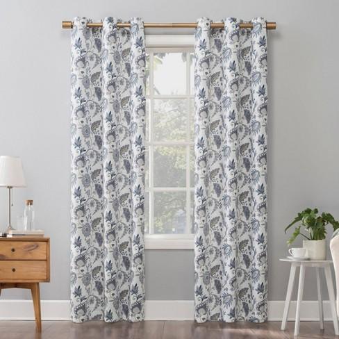 Emiko Vintage Scroll Floral Semi-Sheer Grommet Curtain Panel Purple - No.918 - image 1 of 4