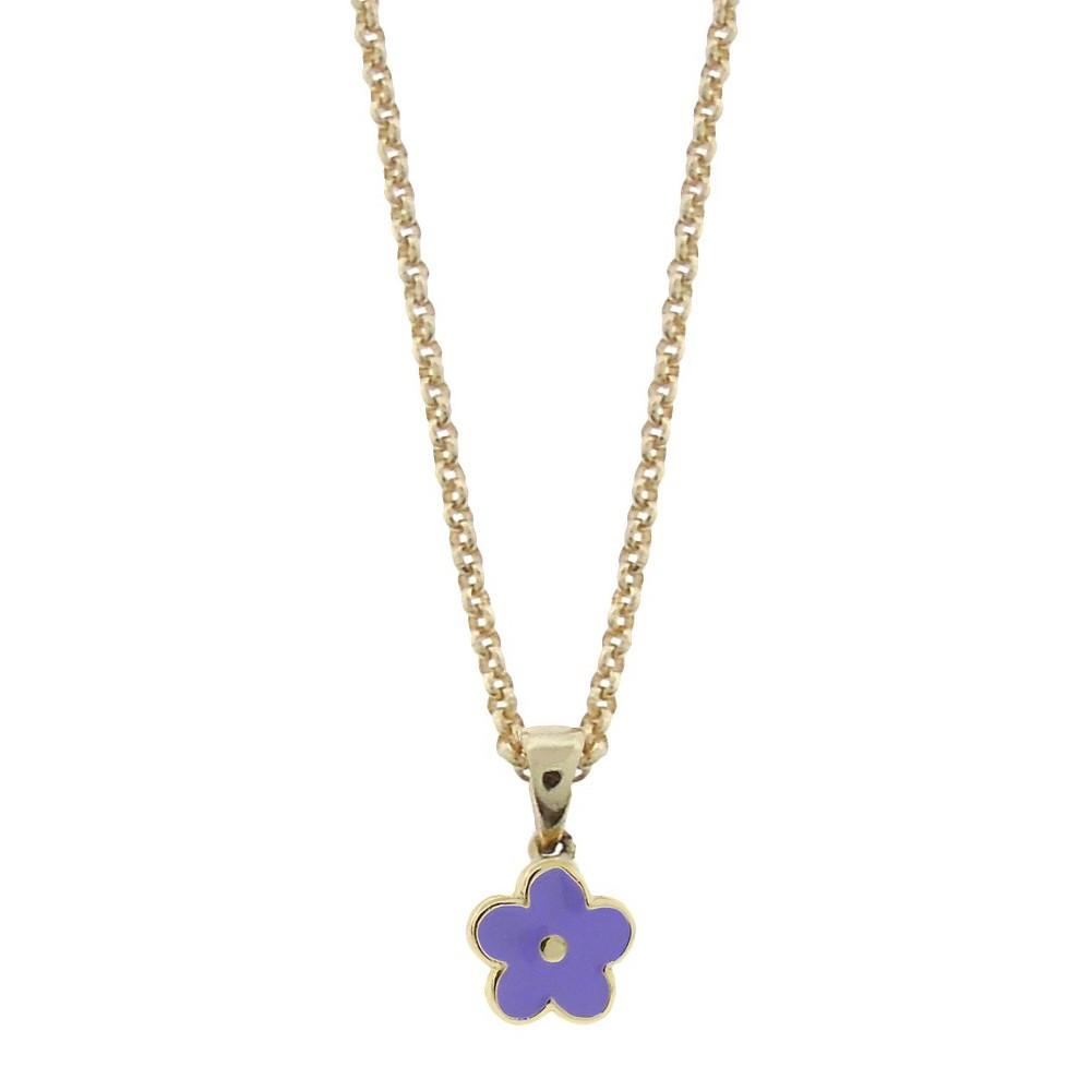 Target Ellen 18k Gold Overlay Enamel Flower Pendant - Lav...