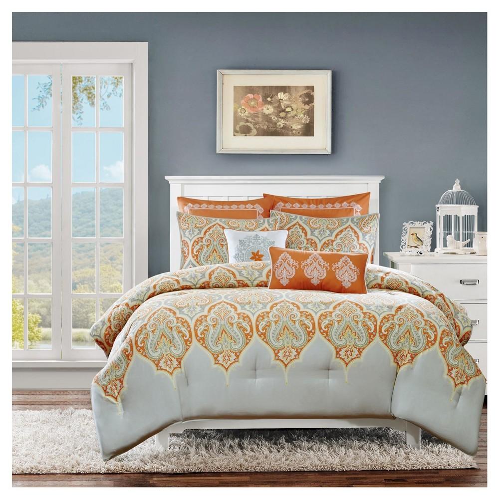 Top Naomi 7 Piece Comforter Set- Orange (King Cal King )
