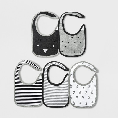 Baby 5pk Bibs - Cloud Island™ Black/Gray One Size
