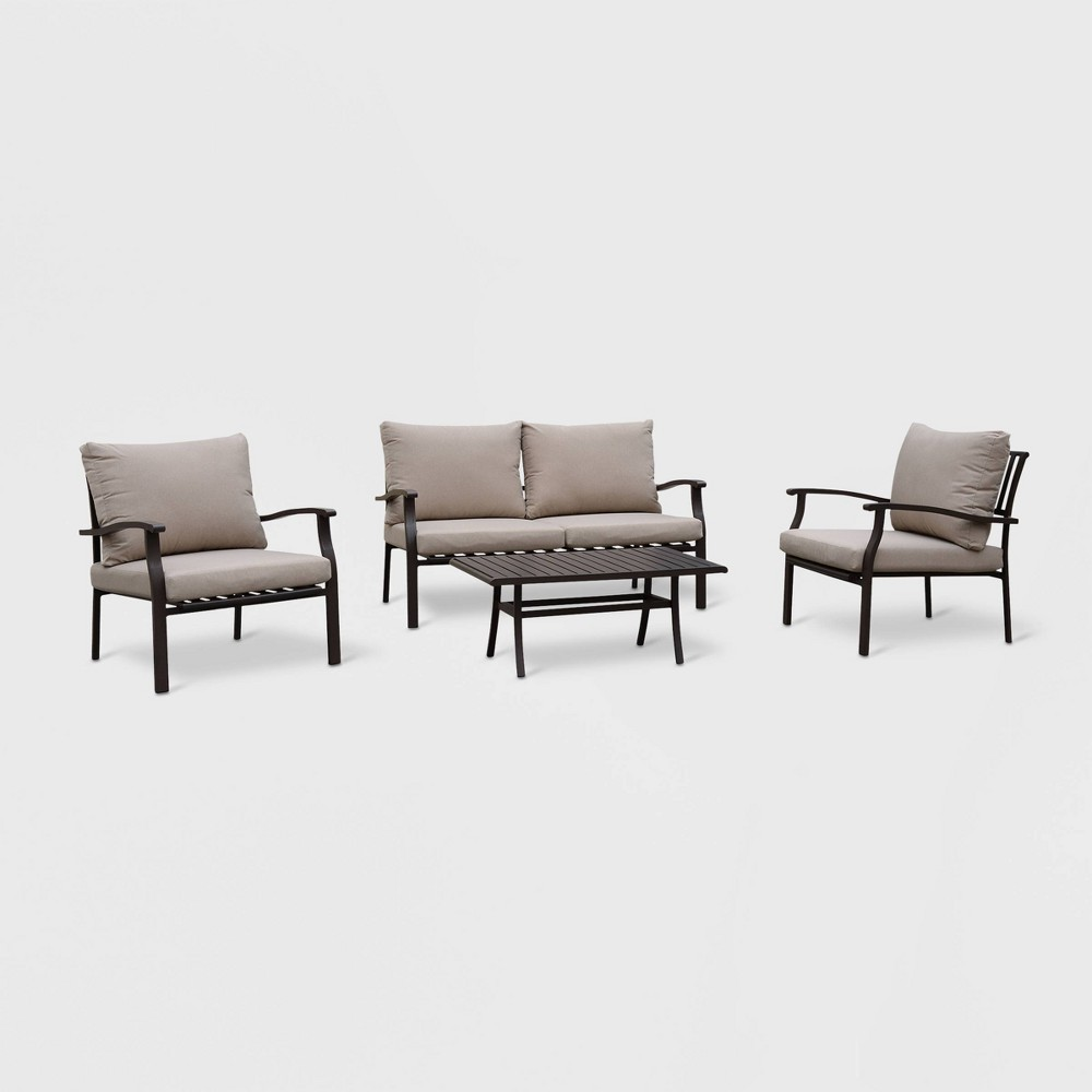 Columbia 4pc Aluminum Outdoor Sofa Set with Cushions - Brown/Gray - Courtyard Casual