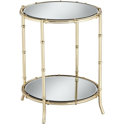 """Studio 55D Macau 22"""" High Gold and Mirrored Accent Table"""