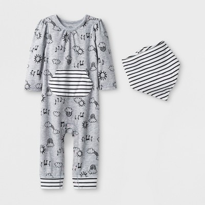 Baby Girls' 2pc Long Sleeve Happy Skies Romper and Bib Set - Cat & Jack™ Heather Gray 6-9M