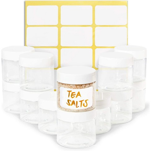 Juvale 12 Pack Clear Round Plastic Glass Jars with Lids, 2oz Empty Food Storage Containers with Label Stickers for Spice, Powder and Cooking Oil - image 1 of 1