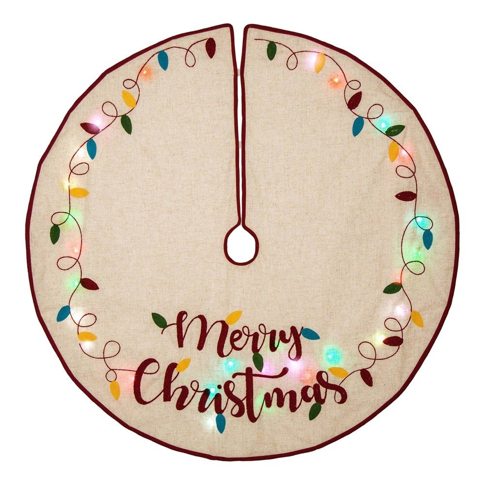 "Image of ""48"""" Merry Christmas LED Embroidered Linen Christmas Tree Skirt - Glitzhome"""