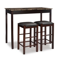 "Tavern 42"" Wood Table & 2 Upholstered Backless Stools - Espresso Wood - Linon"