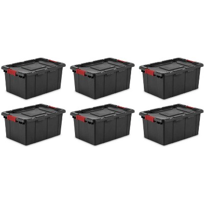 6) Sterilite 14649006 15-Gallon Durable Rugged Industrial Tote Red Latches Black