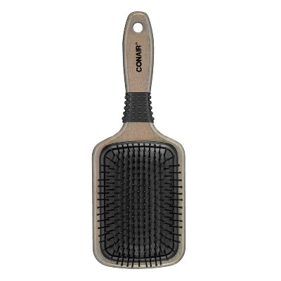 Conair Shines and Smoothes Ceramic Wood Paddle Hairbrush, Brown