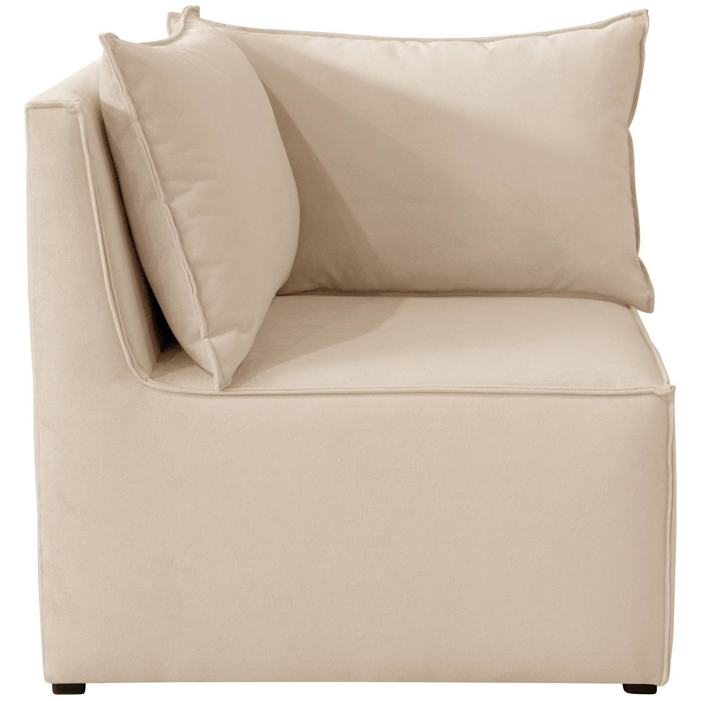 French Seamed Corner Chair in Velvet Pearl Cream - Cloth & Co.