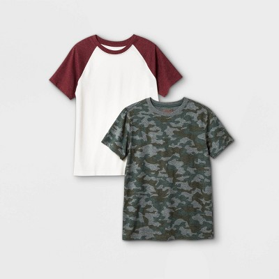 Boys' 2pk Short Sleeve T-Shirt - Cat & Jack™ Maroon/Cream