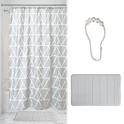 Connected Triangles Shower Curtain with Memory Foam Mat and Ring Bundle Gray/White - iDESIGN