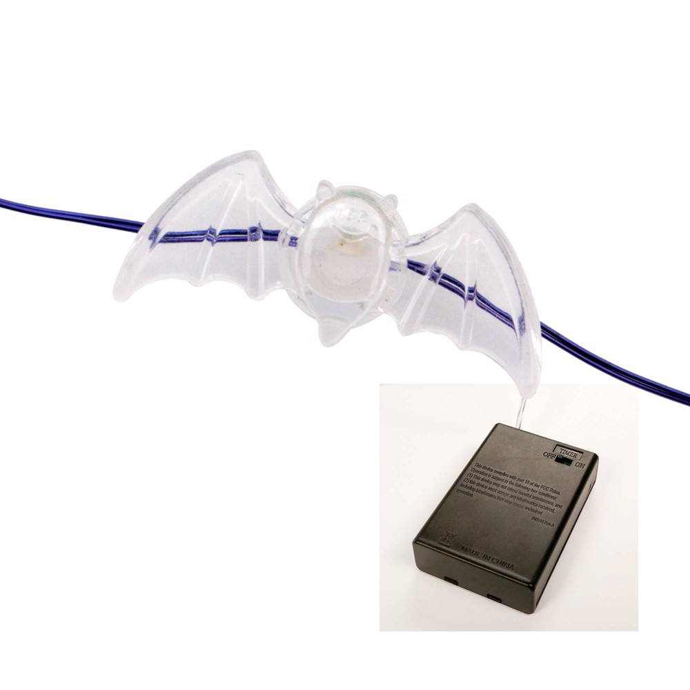 Image of Halloween Philips 30ct Color Changing Bat Halloween LED Dewdrop String Lights