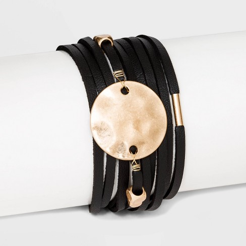 Simulated Leather and Disc Magnetic Bracelet - Universal Thread™ Black - image 1 of 2