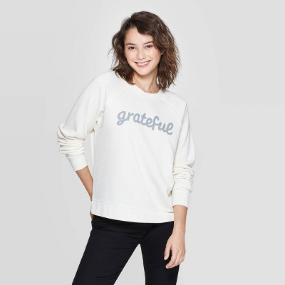 Women's Grateful Long Sleeve Sweatshirt   Grayson Threads (Juniors')   Light Beige by Grayson Threads