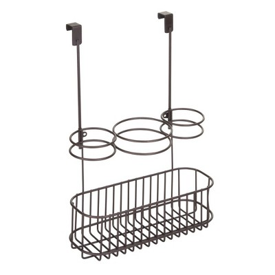 mDesign Over Cabinet Door Hair Care & Styling Tool Storage Basket
