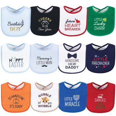 Hudson Baby Infant Boy Cotton Terry Drooler Bibs with Fiber Filling 12pk, Cute Boy Holiday Sayings, One Size