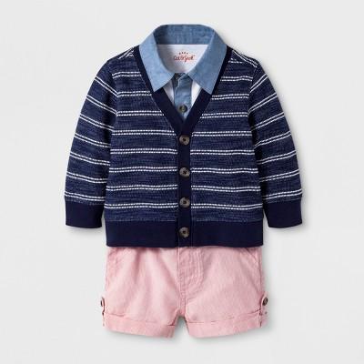 Baby Boys' 3pc Cardigan, Short Sleeve Polo Bodysuit, and Chino Short Set - Cat & Jack™ Navy 6-9M