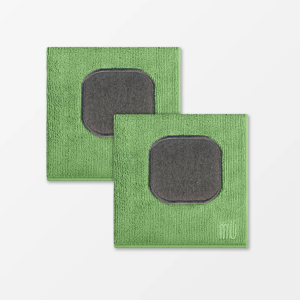 "Image of ""12""""X12"""" 2pk Microfiber Dish Cloth with Scrubber Green - MU Kitchen"""