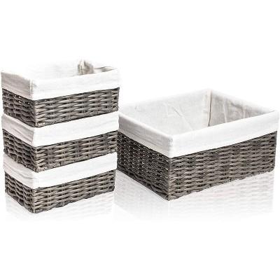 Farmlyn Creek 4-Pack Grey Wicker Storage Baskets with Liners, for Shelf Organization (2 Sizes)