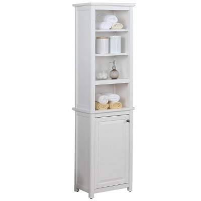 Dorset Bathroom Storage Tower with Open Upper Shelves and Lower Cabinet - Alaterre Furniture