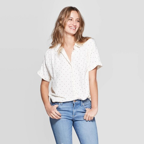 f6ab96773 Women's Short Sleeve Collared Button-Down - Universal Thread™ White : Target