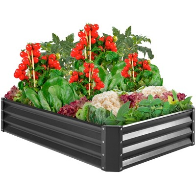 Best Choice Products 6x3x1ft Outdoor Metal Raised Garden Bed for Vegetables, Flowers, Herbs, Plants