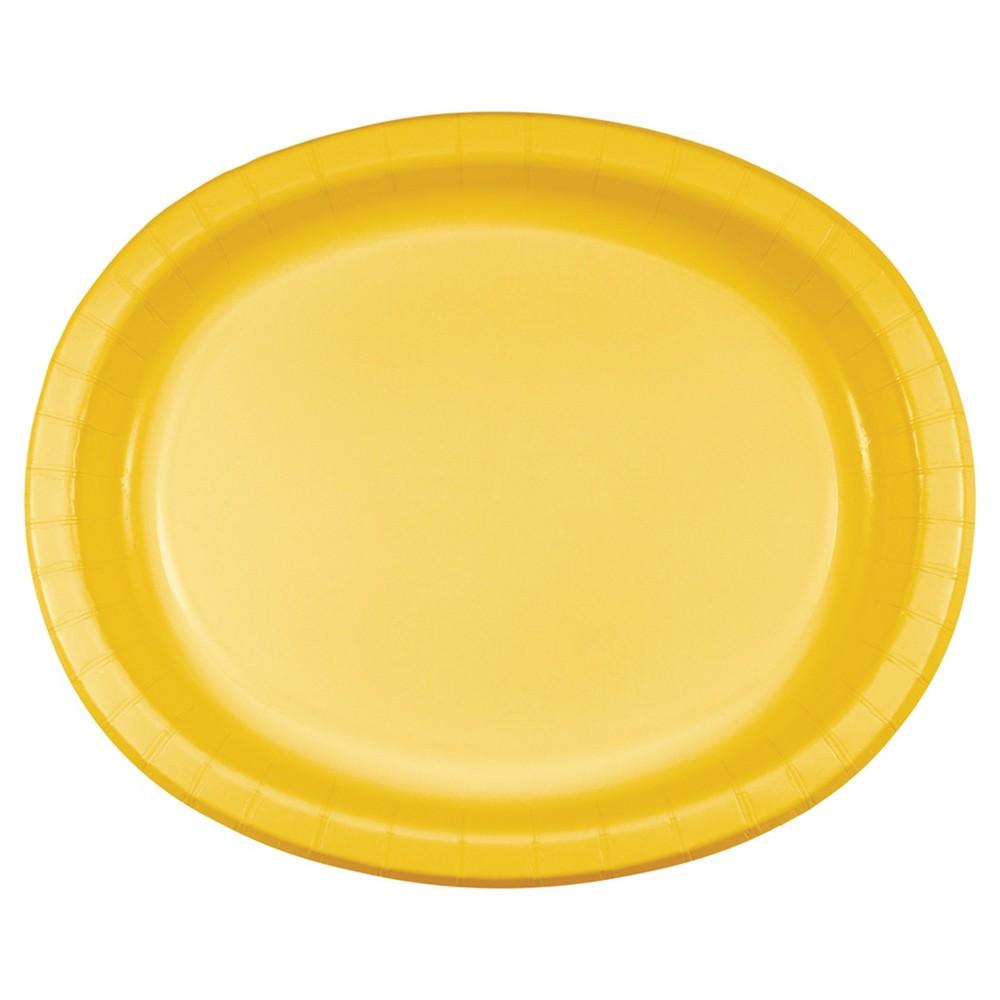 School Bus Yellow 10 x 12 Oval Platters - 8ct