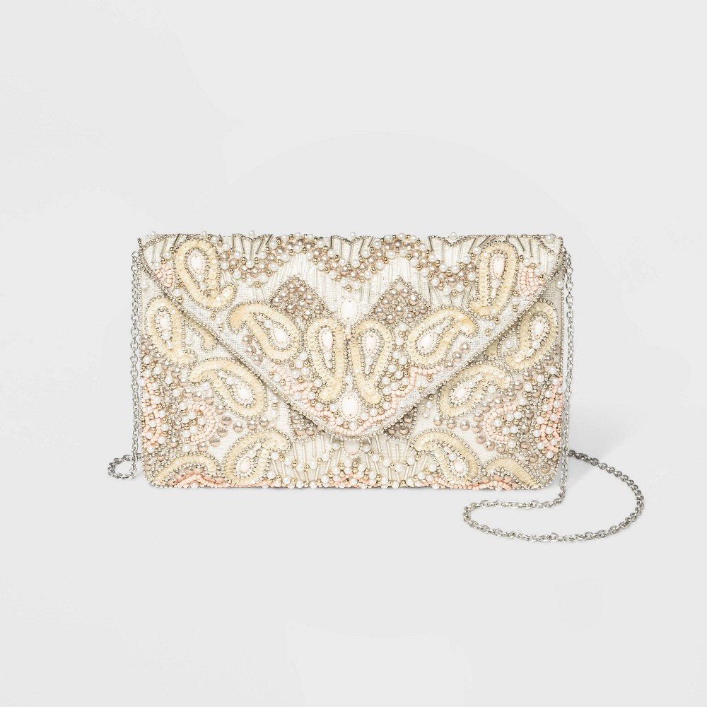 Image of Estee & Lilly Bead And Pearl Envelope Clutch, MultiColored