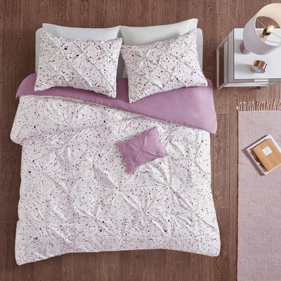 Nicole Printed and Pintucked Duvet Cover Set