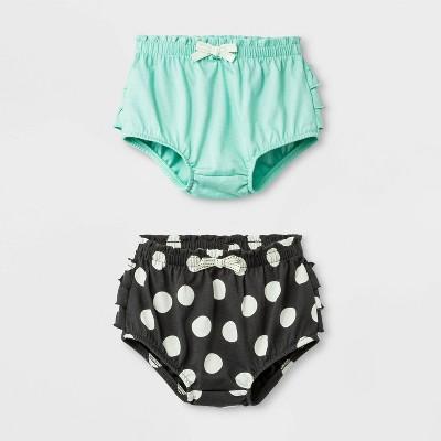 Baby Girls' 2pc Ruffle and Dots Shorts Set - Cat & Jack™ Green/Black 0-3M