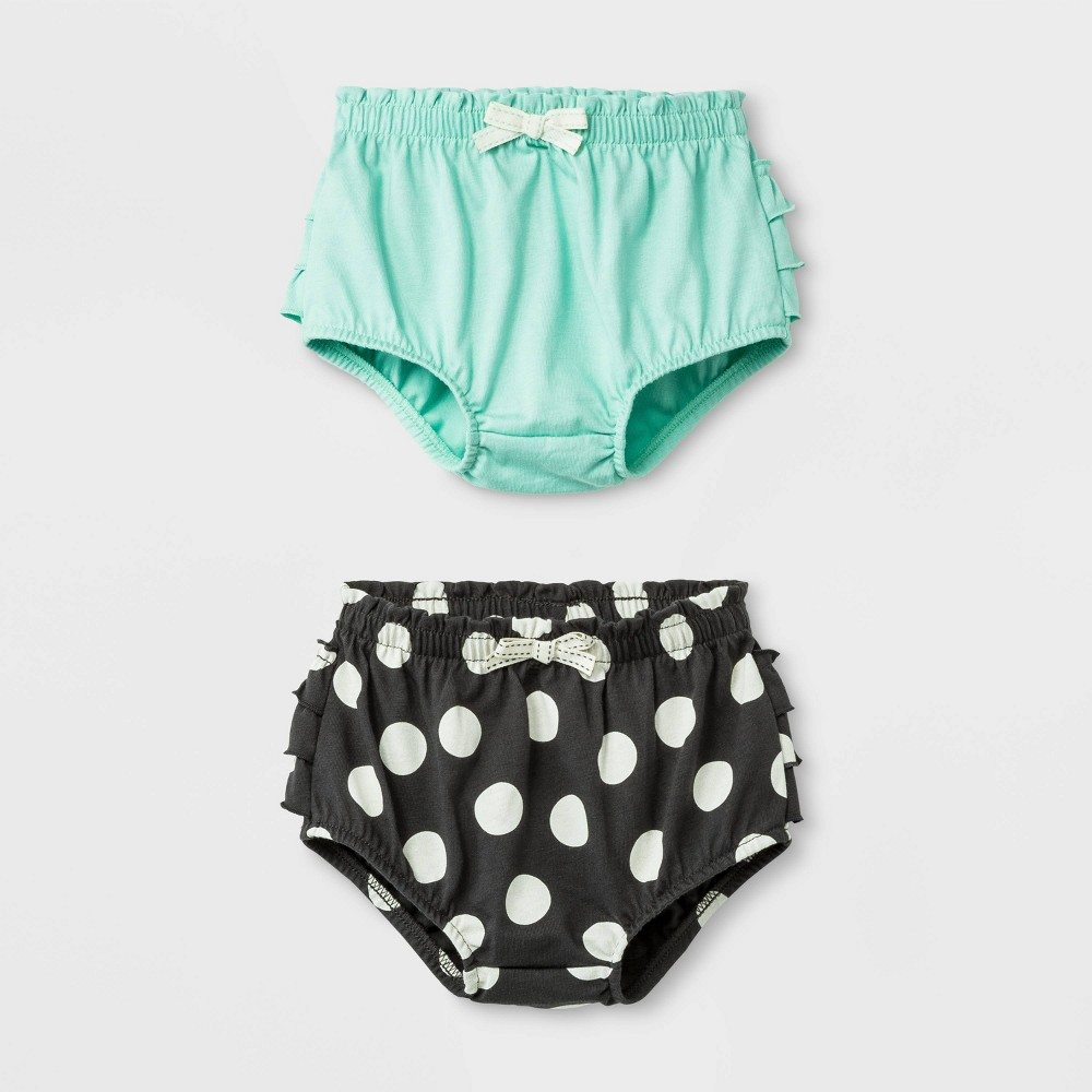 Image of Baby Girls' 2pc Ruffle and Dots Shorts Set - Cat & Jack Green/Black 0-3M, Girl's, Black/Green