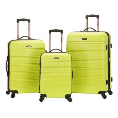 Rockland Melbourne 3pc ABS Luggage Set - Lime