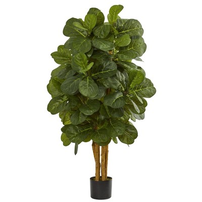 48 Artificial Fiddle Leaf Fig Tree In Pot Black Nearly Natural Target