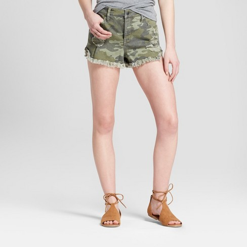 Women's High-Rise Camo Print Shorts - Mossimo Supply Co.™ Olive - image 1 of 2