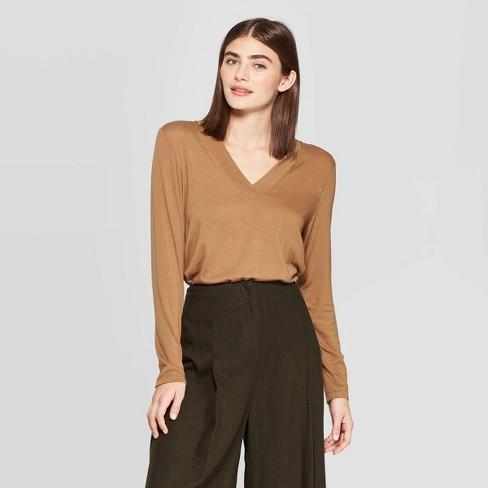 Women's Long Sleeve Deep V-Neck Jersey Blend T-Shirt - Prologue™ - image 1 of 3